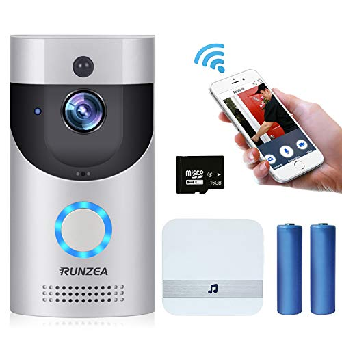 (WiFi Video Doorbell,Smart Home Security Camera with Indoor Chime,16G Memory Storage,2X 18650 Batteries,2-Way Talk,Night Vision,PIR Motion Detection,APP Control for iOS Android Google &Smart)