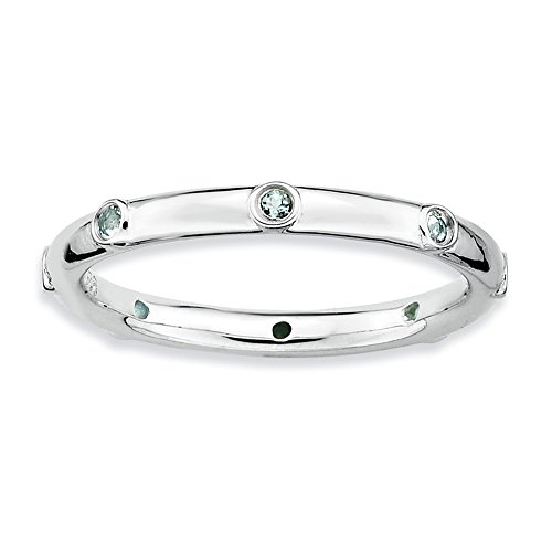 Size 7 - Aquamarine Studded 2.25mm Band Sterling Silver Stackable Expressions - Studded Mm 2.25 Band