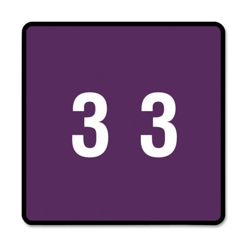 Smead 67423 Purple DCC Color-Coded Numeric Label - 3 - 1.50quot; Width x 1.50quot; Length - 250 / Roll - 250/Roll - Purple by Smead