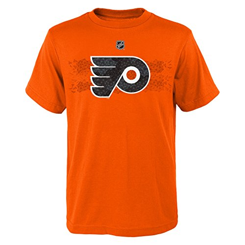 Philadelphia Flyers Player Apparel - NHL Philadelphia Flyers Giroux C Boys Fractal Camo Player Short Sleeve Tee, Medium/(10-12), Orange