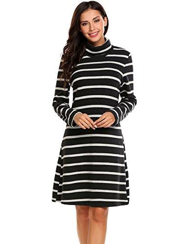 Elesol Women's Long Sleeve Stripes Knit Turtleneck Loose Fit Pullover Sweater Dress