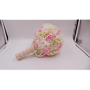 Abbie Home Elegant Wedding Flowers Bridal Bouquets Pearl Bridesmaid Holding Bouquet Sparkle Crystal 41