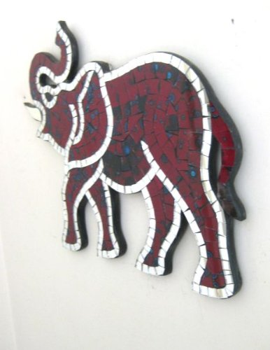Elephant Statue Wall Decor Hanging Wall Mosaic Mirror Elephant Statue Good Luck Fortune-OMA BRAND