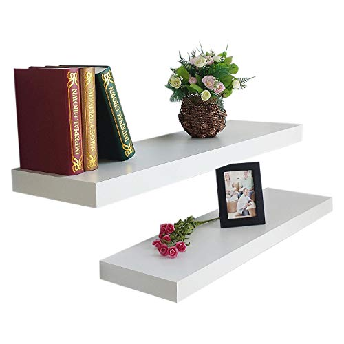 HAO ALWAYS DO BETTER Set of 2 Modern 10 Inch Depth Shelf for The Wall Wood Wall-Mounted Storage Shelf MDF Display Shelving Approx 36 White