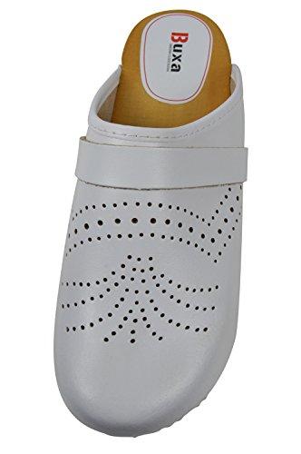Buxa Zuecos de Cuero Unisexo, Agujero Diseño, Suela de Madera Blanco