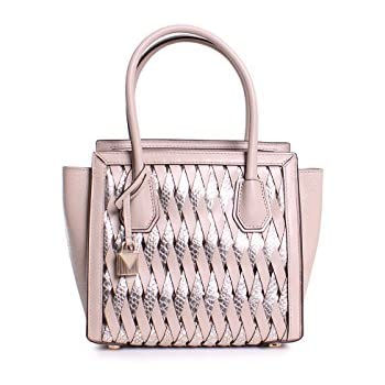 ef92f4dafde0d1 Michael Michael Kors Mercer Studio Embossed Metallic Leather Medium Woven  Messenger Handbag in Oat Champagne