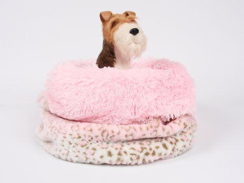 Cuddle Cup Dog Bed - Pink Lynx w/Pink Shag Lg Size by Susan Lanci