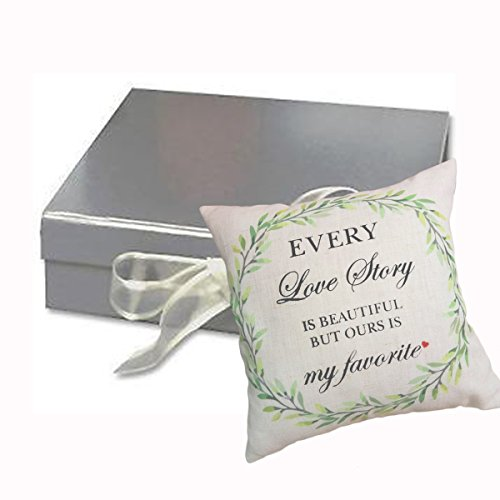 EVERY LOVE STORY IS BEAUTIFUL BUT OURS IS MY FAVORITE Wedding Gift Newlywed Shower Gift Cushion Memento Home Decor Throw Pillow Case Cushion Cover Couples Wedding Decorative Square Pillow 18