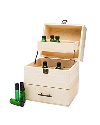 Essential Oil Box - Wooden Storage Case Holds 59 Total Oils (45 bottles 5-15ml & 14 Roller Bottles 10ml) - Display doTERRA, Young Living, Plant Therapy