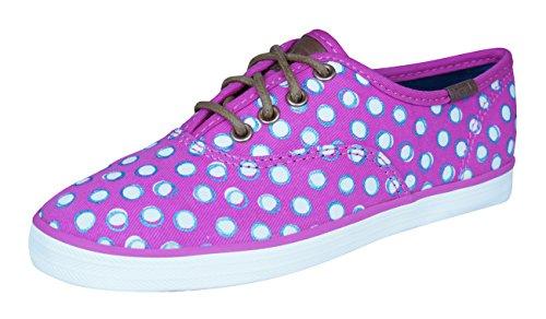 Keds Print Shoe (Keds Champion Prints Sneaker (Little Kid/Big Kid), Fuchsia Dots, 4 M US Big Kid)