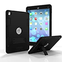 iPad Air 2 Case, SUMOON Heavy Duty Rugged Shockproof Hybrid Three Layer Case Full Protection Cover with Kickstand For Apple iPad Air 2(6th Gen iPad) (Black)