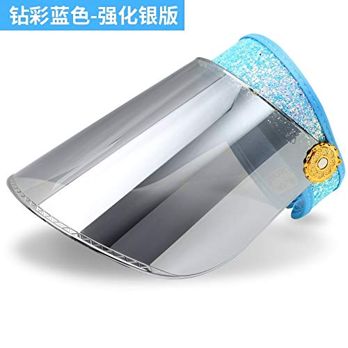(hat cap women girls summer sun uv sunscreen electric car ride summer sun covering her face (blue diamond color - silver enhanced version)