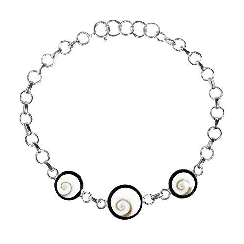 AeraVida Trendy Triple Swirl Circle Shiva Shell .925 Sterling Silver Link Bracelet
