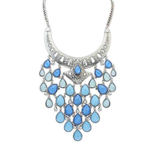 AmDxD Jewelry Gold Plated Women Choker Necklaces Blue Silver Metal Tag Teardrop,Best Gift for Her (T-bar Drop Ceiling Connector)