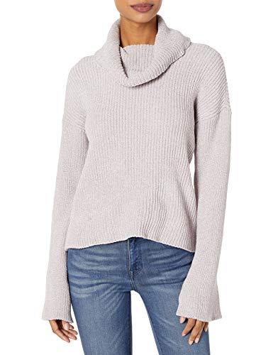 cupcakes and cashmere Women's Greenwich Marled chenile Rib Knit Turtle Neck, Faded Lilac, Small