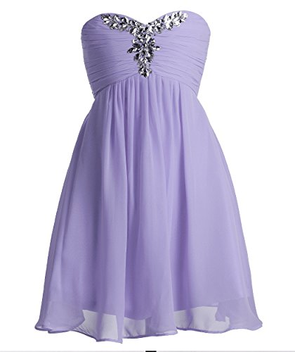 Fashion Plaza Girl's Chiffon Strapless Bridesmaid Flower Girl Dress K0091 (6, Lilac)