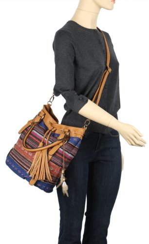 Jacquard Shoulder Camel Pattern Bag Striped Scarleton H1382 8qOxE6U6a