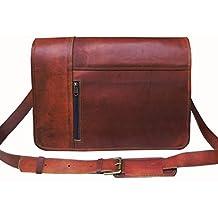 VINTAGE COUTURE 16 Inch leather messenger bags for men women mens briefcase laptop bag best computer shoulder satchel school distressed bag