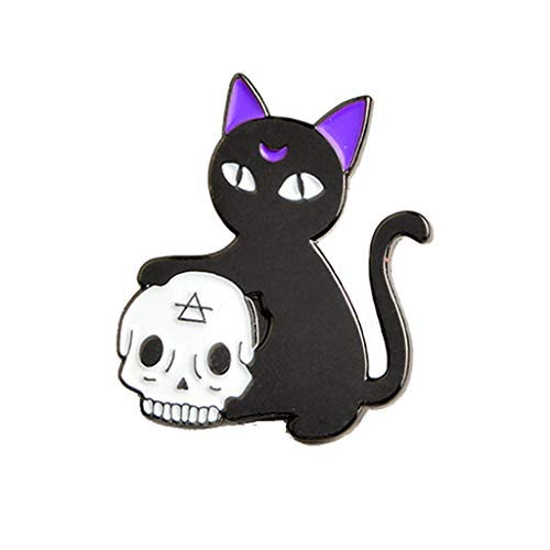 HittecH Halloween Gothic Jewelry Witch Hand Magic Crystal Ball Skull Cat Brooch -