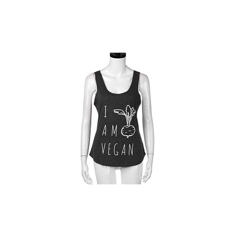 Winhurn Casual Women Fashion Print Sleeveless Workout Tank Top Sport Gym Yoga Top