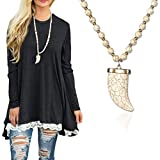 Sanifer Long Bead Necklace Crescent Moon Pendant Strand Necklace Sweater Necklace
