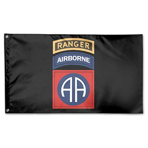 NPZBHoney3x5 82nd Airborne with Ranger Flag 3' X 5' Ft Banner Breeze Flag