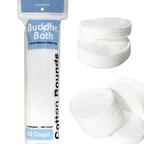 Premium Professional All Natural Cotton Round Pads- Large Luxurious - 100% Natural - Hypoallergenic - No Fillers - Makeup & Face Cotton - Bulk - 60 Packs Of 100 Rounds - 6000 count by Buddha Bath