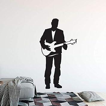 Your boy-HT Guitarra Eléctrica Etiqueta de La Pared Singer Man con Guitarra Vinilo Tatuajes de Pared Home Music Club Decoración Guitarra Cantante Póster de ...