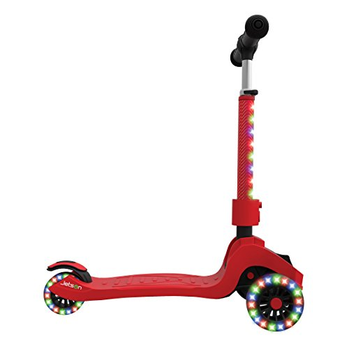 Jetson Saturn 4-Wheel Folding Kick Scooter for Toddler & Kids – Unique Dual Rear Wheel Adds Stability – Steering Handlebar Stem, Foot Deck & Rolling Wheels Light Up with Colorful LEDS – EZ Assembly