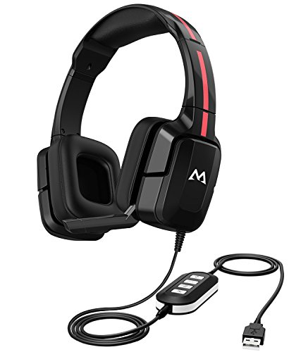 Mpow EG2 Gaming Headset for PS4, Xbox One, PC, Smartphone, 40mm Driver Stereo Sound, Lightweight Comfort Design, Soft Memory Earmuff, Wired Gaming Headphones with Foldable Noise Cancelling Microphone