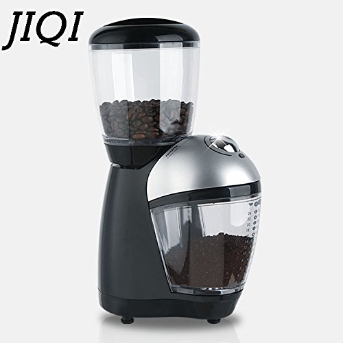 JIQI Electric Coffee Burr Grinders Italian Cafe Coffee Bean Grinding Machine Fine Miller Stainless Steel Blade 110V 220V EU US (Stainless steel burr)