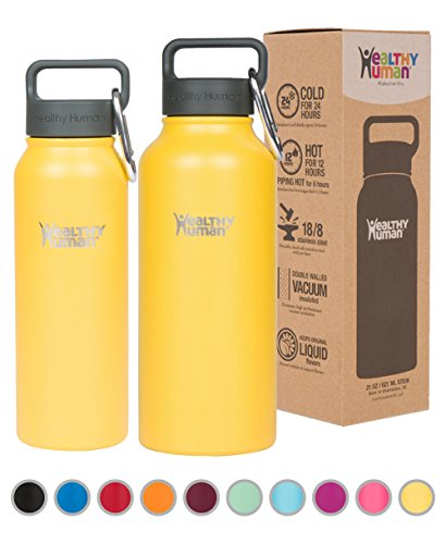 Healthy Human Insulated Stainless Steel Water Bottle Stein - Cold 24 Hrs/Hot 12 Hrs - Double Walled Vacuum Thermos Flask with Hydro Guide & Carabiner - 21 oz Limoncello