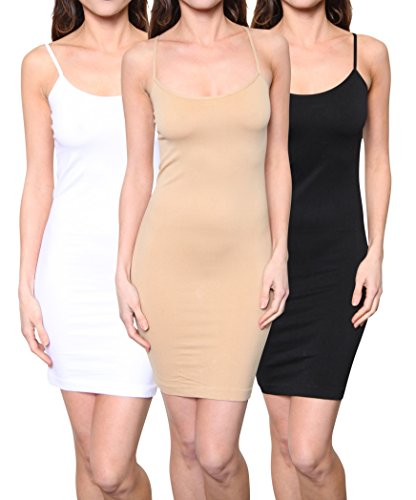 3 Pack: Women's Seamless Stretchy Spaghetti Strap Mini Dresses One Size