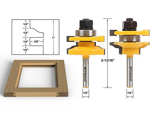 Yonico 12243q Rail and Stile Router Bits with 2 Bit Standard Ogee 1/4-Inch Shank