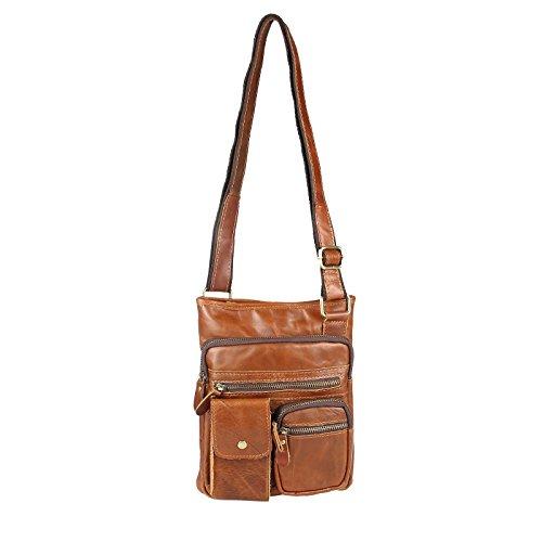 OBC Flugbegleiter Ledertasche Vintage Used Look Leder Tasche Umhängetasche Freizeit Bag Schultertasche CrossOver