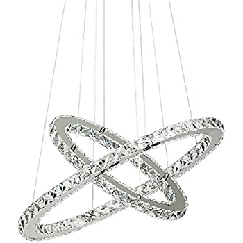 Amazon crystal chandelierdimmabletopmax design 60cm cut crystal chandelierdimmabletopmax design 60cm cut crystal led pendant with oval two rings mozeypictures Gallery