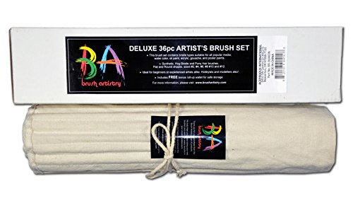 Paint Brush Set By Brush Artistry - 36 High Quality, Long Wooden Handles Paint Brushes Featuring Synthetic, Hog & Pony Hair Bristles - Can Be Used with Watercolor, Acrylic, Oils & Other Paint Media - Ideal for Beginners & Experienced Artists
