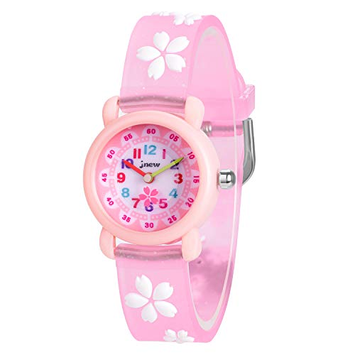 (Watches for Girls Pink Resin Wrist Band with Flowers Cute Watch Girls Fashion Waterproof Wristwatches for Kids Children (Flower Pink us Girl watch-3d))