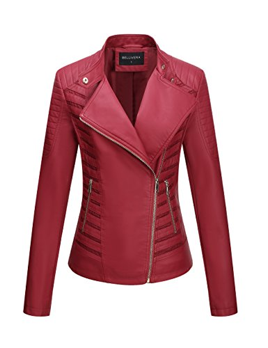Red Leather Coat - Bellivera Women's Faux Leather Jackets for Women Leather Coat for Winter Casual Short Jacket