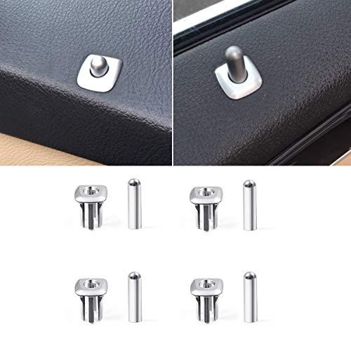 Chrome Door Lock Knobs - Jaronx Door Lock Knob Buttons+Door Lock Grommet Compatible with BMW 5 Series 2010-2016, Chrome Plated Door Lock Cover Replacement