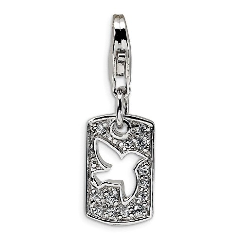 - Sterling Silver CZ Cut-out Dove/Peace Clip-on w/Lobster Clasp Charm Pendant