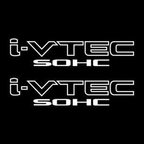 2 Pieces White I-VTEC SOHC STICKER DECAL EMBLEM CIVIC S2000 ACCORD JDM IMPORT ILLEST ()