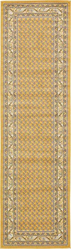 Unique Loom Williamsburg Collection Traditional Border Yellow Runner Rug (2' 9 x 9' 10)]()