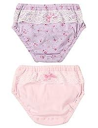 Little Girls Briefs Soft Underwear Cotton Panties Cute 2 Pack 2t Purple Pink M