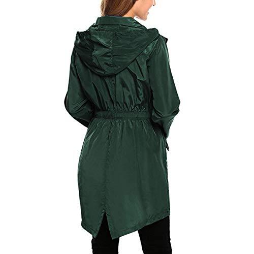 ZFFde Invierno Chaqueta de lluvia con capucha impermeable de la manga larga de las mujeres Chaqueta de bolsillo larga al aire libre que va de excursión (Color : Green, tamaño : L)