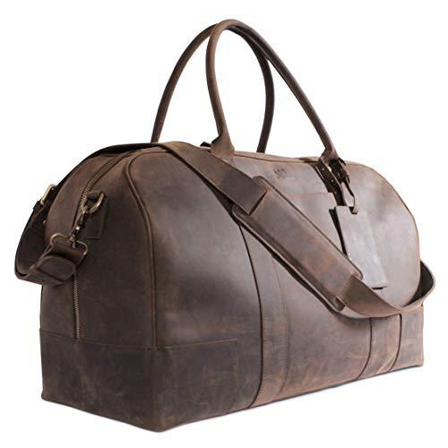Premium Full Grain Leather - Bucksaw Travel Leather Duffel Bag For Men - Full Grain Premium Leather Weekender - Brown