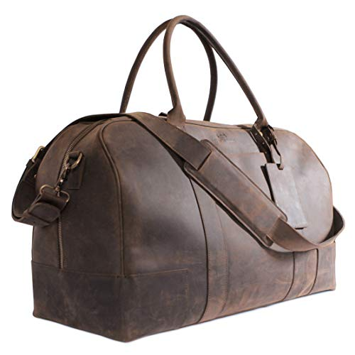 (Bucksaw Travel Leather Duffel Bag For Men - Full Grain Premium Leather Weekender - Brown)