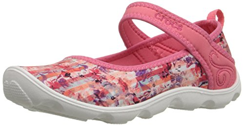 [crocs Duet Busy Day Floral GS Mary Jane (Little Kid/Big Kid), Coral/White, 6 M US Big Kid] (Croc Pattern Leather)