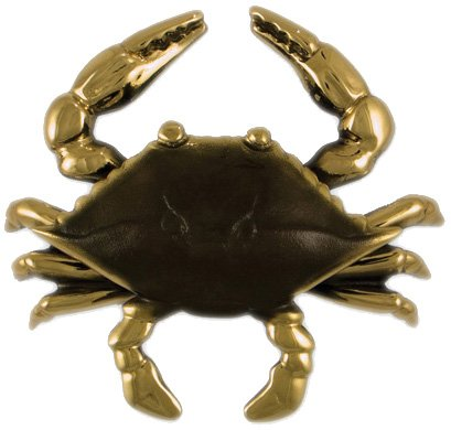 Blue Crab Door Knocker - Brass (Premium Size) (Knocker Mount Surface Door)
