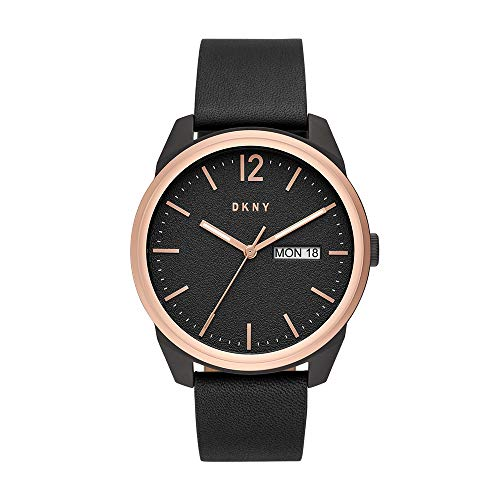 DKNY Men's Gansevoort Stainless Steel Quartz Watch with Leather Strap, Black, 22 (Model: NY1605)